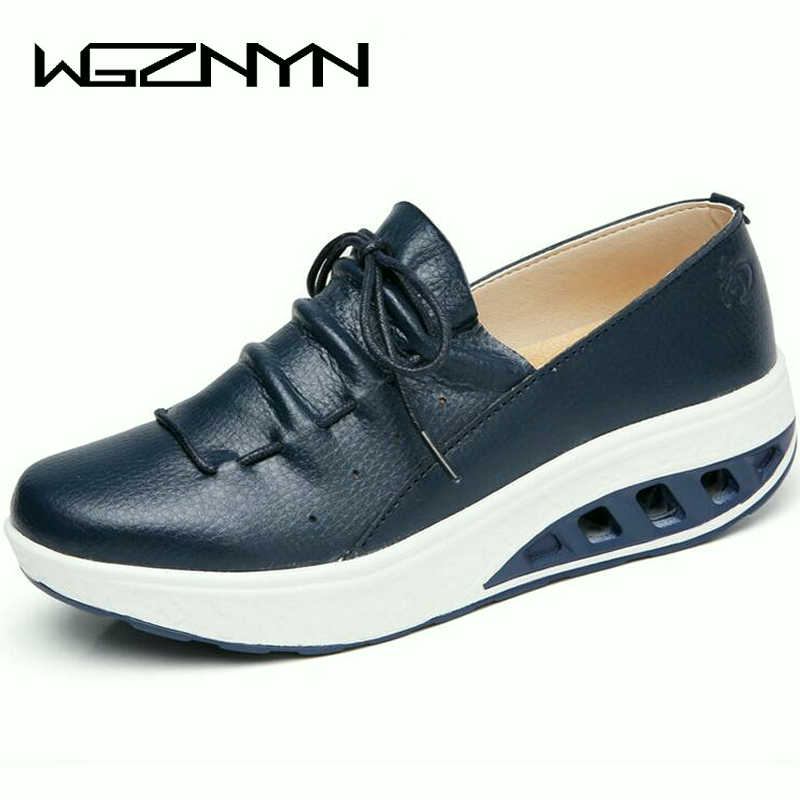 2019 Summer Leather Women Shoes Sneakers Nurse Swing Work Single Shoes Wedges Shoes Woman Blue White Platform Shoes Slimming W07