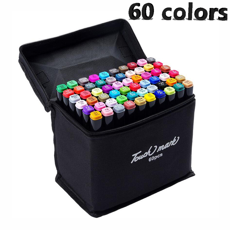 60colors Artist Double Headed Sketch Copic Marker Set 30 40 60 80 Colors Alcohol Based Manga Art Markers for Design Supplies touchnew 168 colors artist painting art marker alcohol based sketch marker for drawing manga design art set supplies designer