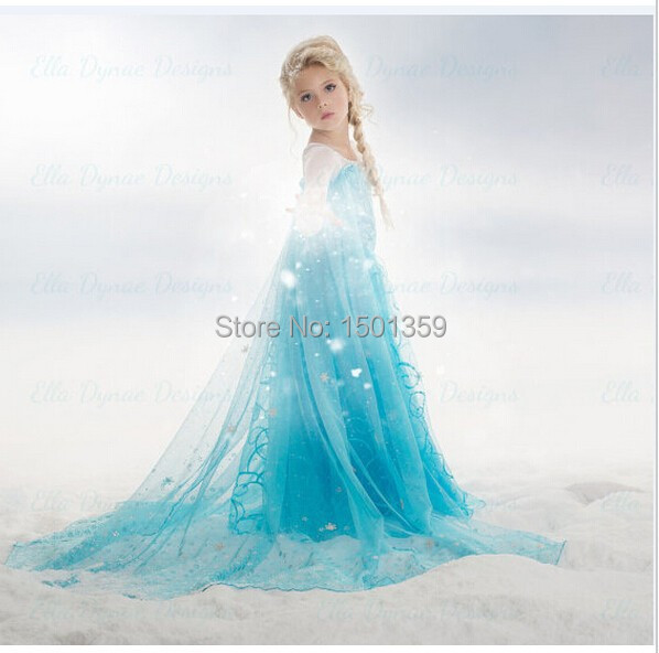 Real Picutre 1pcs 2017 Snow Queen Romance Elsa Princess Dress Anna Costume Kids Baby S Blue Party Dreeese In Dresses From Mother