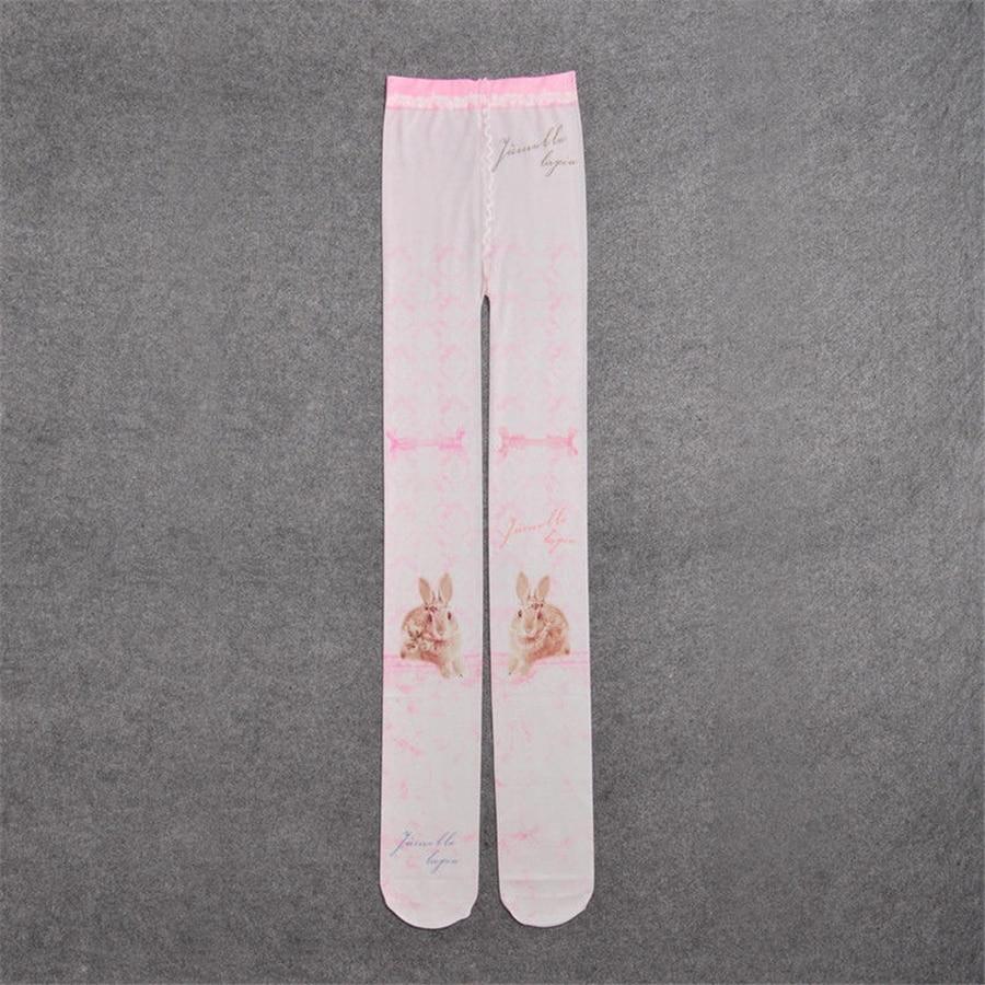 Harajuku Cartoon Tights Women Cute Rabbit Print Pantyhose Underwear Blue/Pink Girls Gifts
