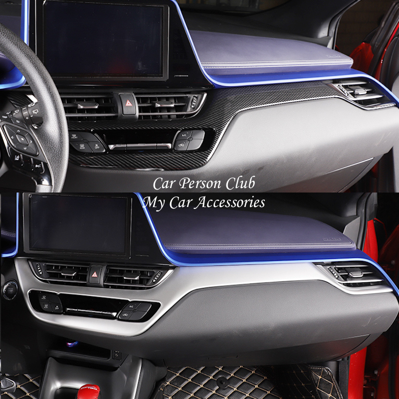 For Toyota C-HR CHR 2017 2018 Inner Central Instrument Control Strip Trims Frame Molding Cover ABS Chrome Stickers Car-Styling accessories for chevrolet camaro 2016 2017 abs carbon fiber style the co pilot central control strip molding cover kit trim