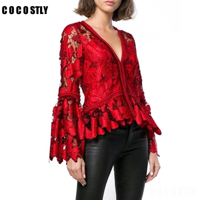 Évider Floral élégant femmes dentelle Blouse à manches longues chemise dames hauts Vintage mode coréenne haut pour femme vêtements rouge