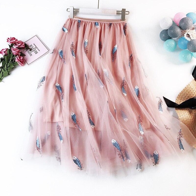 ac16d5c96e4 Юбка пачка Вышивка перо Тюлевая юбка трапециевидной формы Jupe Longue  Длинные Розовый Белый Черный для женщин