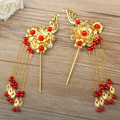 Chinese Traditional Headdress Classical Bridal Hair Accessory Jewelry Golden Phoenix Hairpins Step Shake