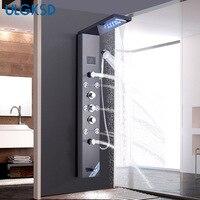 ULGKSD Температура Экран светодиодный дождь водопад смеситель для душа комплект 6 многофункциональный сопла массаж SPA Jet душ Панель колонка