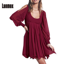 New Spring Women Vintage Bohemian Dress Long Lantern Sleeve O Collar Backless Chiffon Vestidos Womens 3 Colors