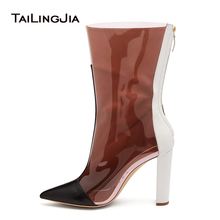 Pointed Toe Chunky High Heel Clear Boots Short Booties 2019 Womens Heeled Transparent Mid Calf Ladies Spring Autumn Shoes