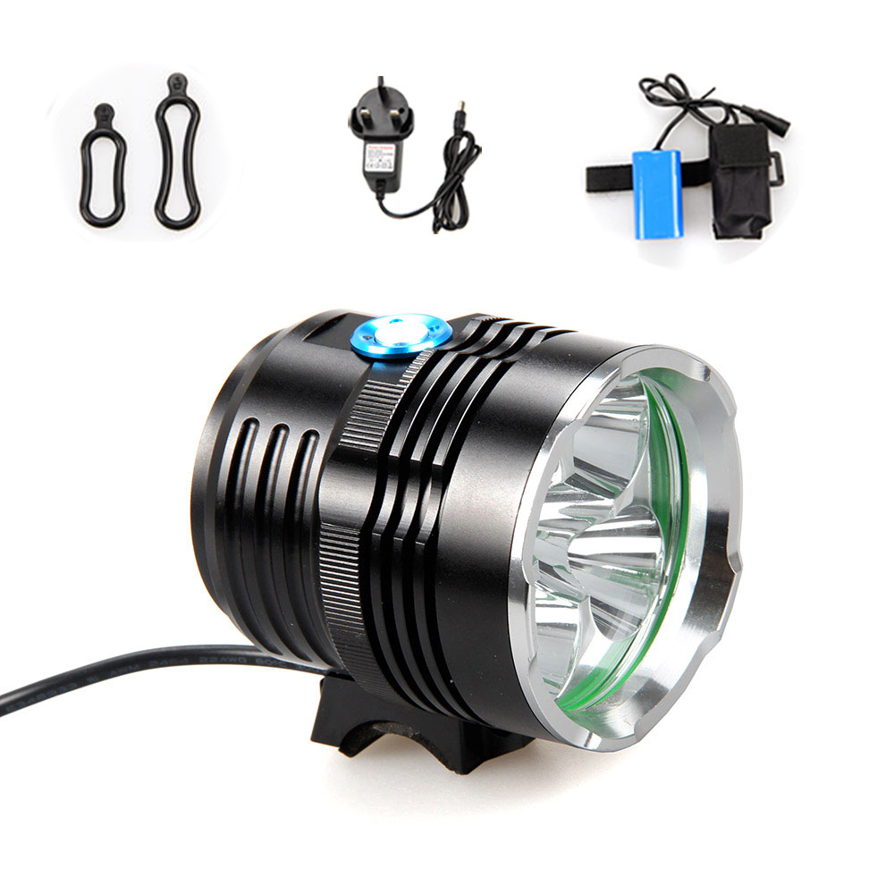 Trustfire 10000Lm 5x XML T6 LED Head Front Bicycle Bike Light Headlamp Headlight Cycling Lamp hot sale 3x cree xml t6 led headlamp bike light 5000 lumen 18650 led head light 4x18650 battery pack charger bike rear light