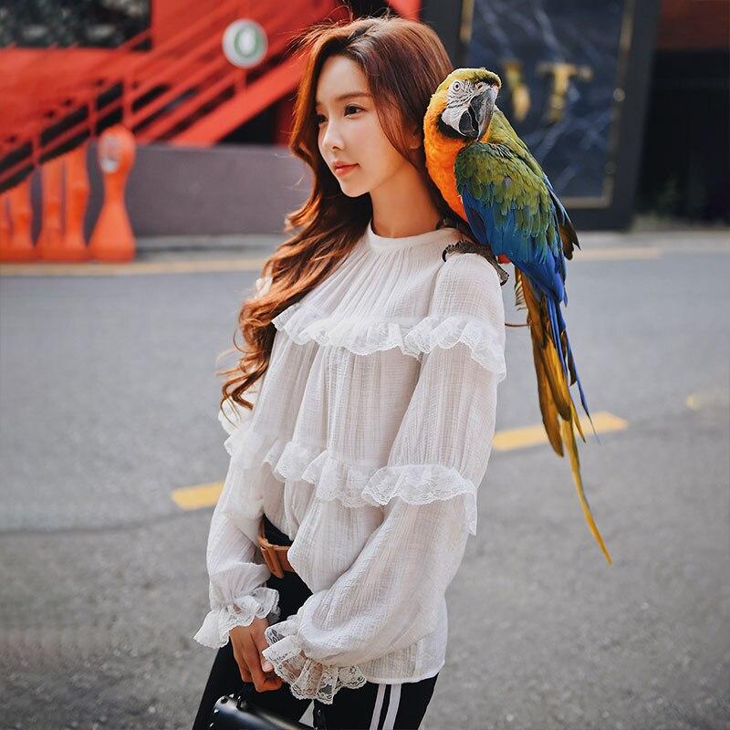 Dabuwawa Women Ruffles Lace Chiffon   Blouse     Shirt   For Girl Streetwear Lantren Sleeve 2018 New Fashion Korean Loose Top #DN1AST003