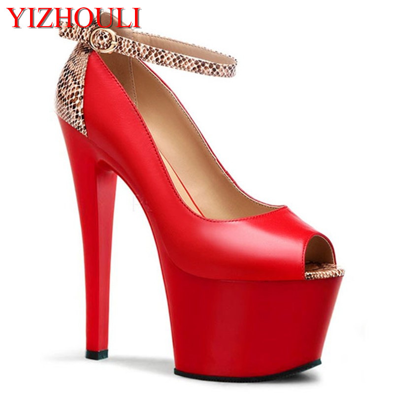 The spring and autumn period and the new low for single European fashion fish mouth shoes waterproof nightclub 17 cm high heels