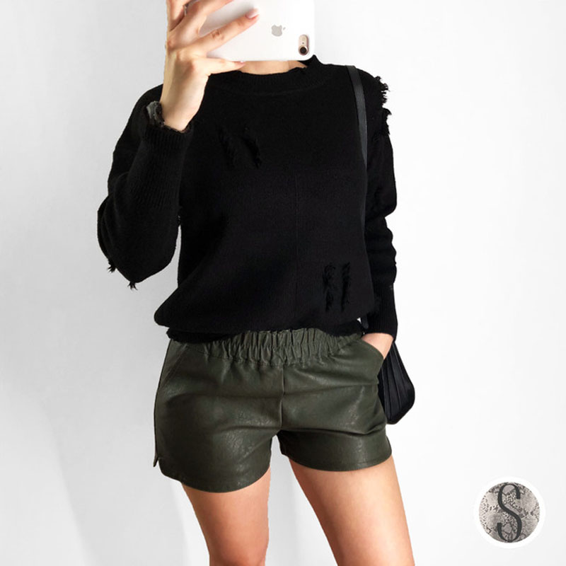 High Waist Pu Leather   Shorts   2018 Autumn Winter Women Sexy Mini   Short   Korean Fashion Cute Bottom Elastic Waist Casual Streetwear