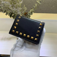 New leather contrast color buckle mini wallet ladies hot brand wallet ladies fashion short mini brand coin purse envelope wallet