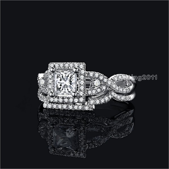 choucong Classic Jewelry Simulated Diamond 925 Sterling silver 2 cross Wedding Band Ring Set Sz 5-11 Gift Free shipping