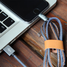 2016 Hand-sewn Cowboy Leather Charging Charger Data Sync USB Cable for IOS 9 iPhone 5/5s/5c/6/6S/6 Plus/6S Plus Android phone 1M