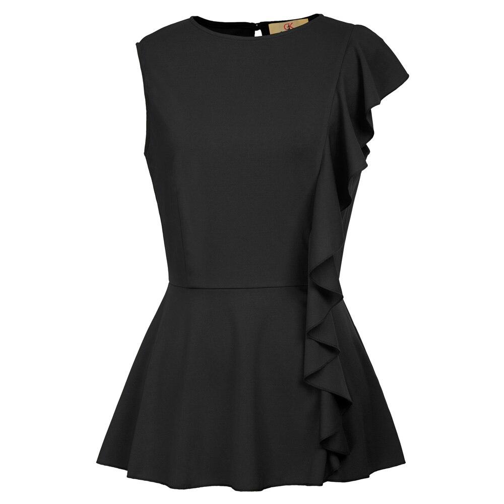 summer shirt Women Casual o neck Ruffle Embellished Keyhole Back Sleeveless Peplum Tops camisa feminina