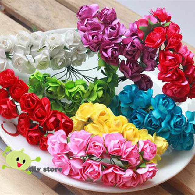 144pcs Cheap Small Head Wreath Form Rose Tissue Paper Flower Bouquet ...