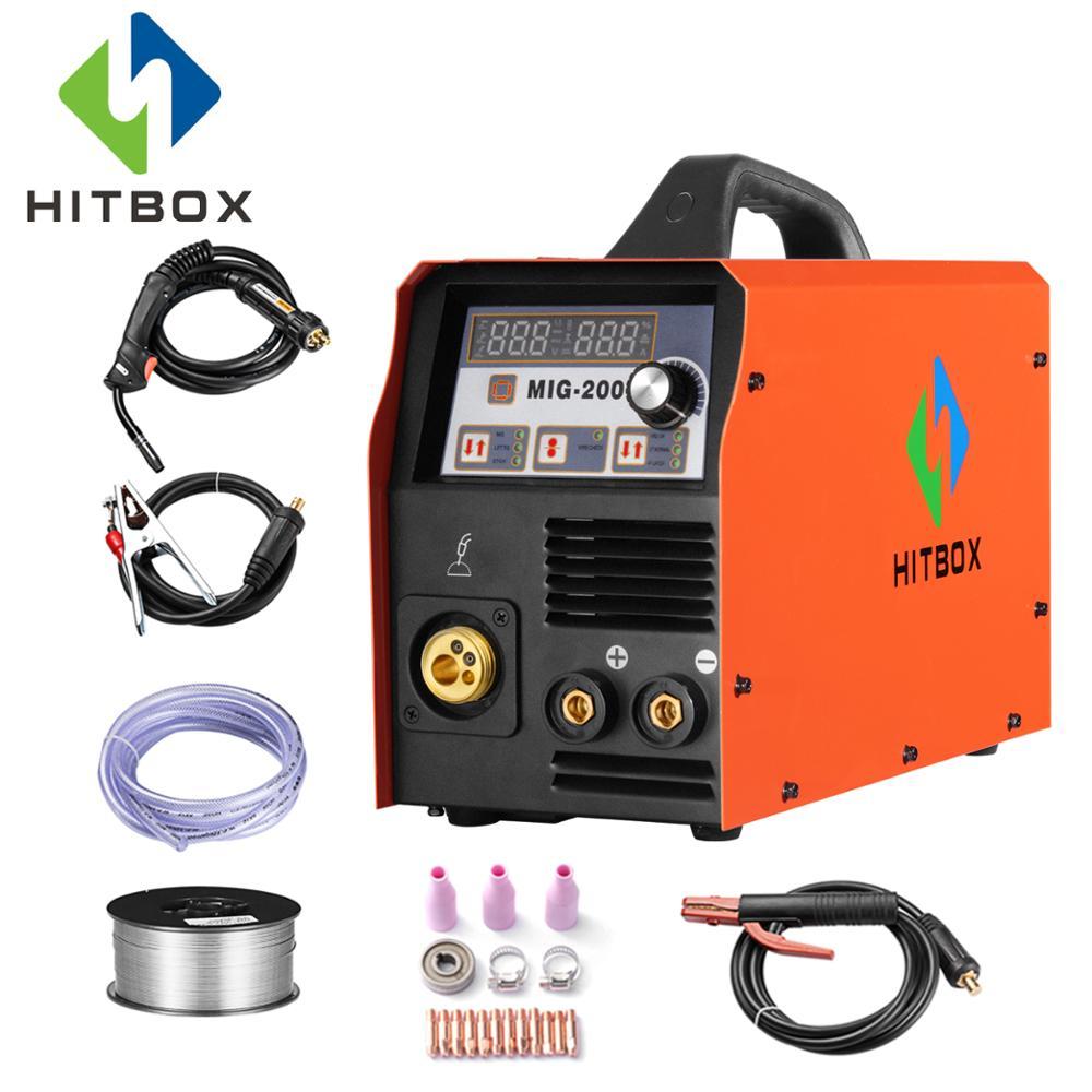 HITBOX Mig Saldatore MIG200 MMA TIG MIG Funzioni di Macchine per la Saldatura 220 v Con Accessori MIG MAG Saldatore