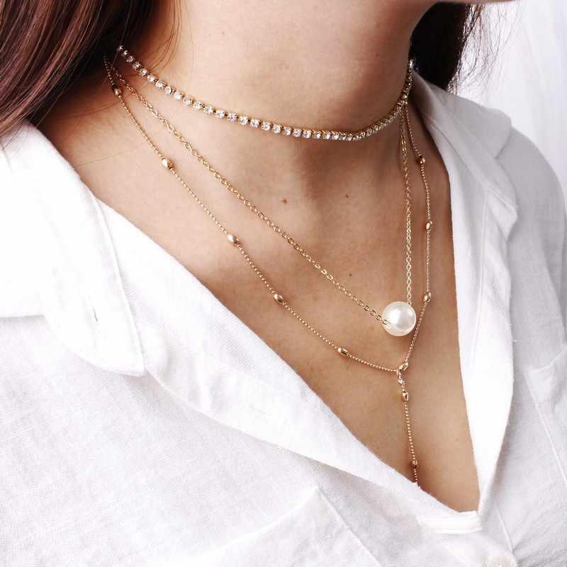 New fashion Jewelry Sexy Thời Trang Pendant Vintage Collier Dài Vòng Cổ Pha Lê Multi Layer Hạt Choker Necklaces đối với Phụ Nữ
