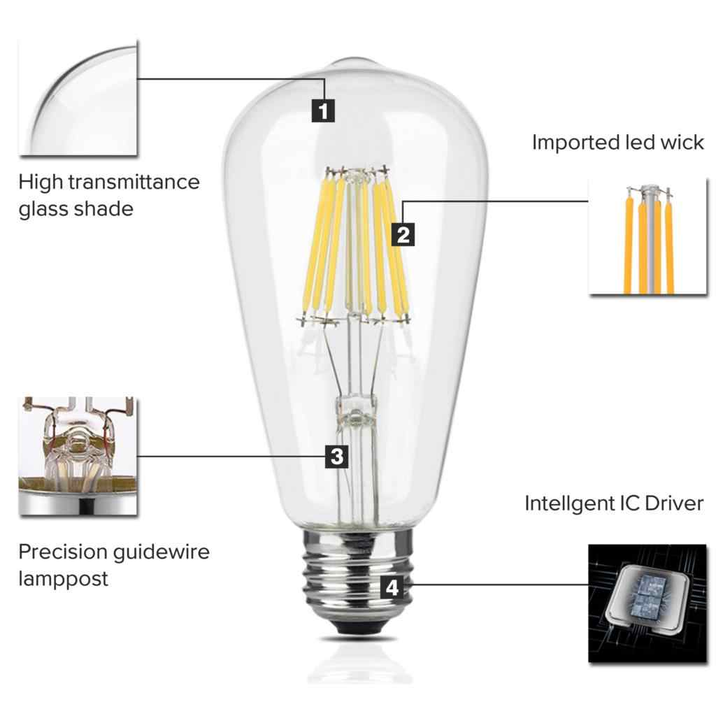 LED Filament ampoule E27 rétro Edison lampe 220 V E14 Vintage LED Edison ampoule bougie ampoule lustre éclairage COB décor