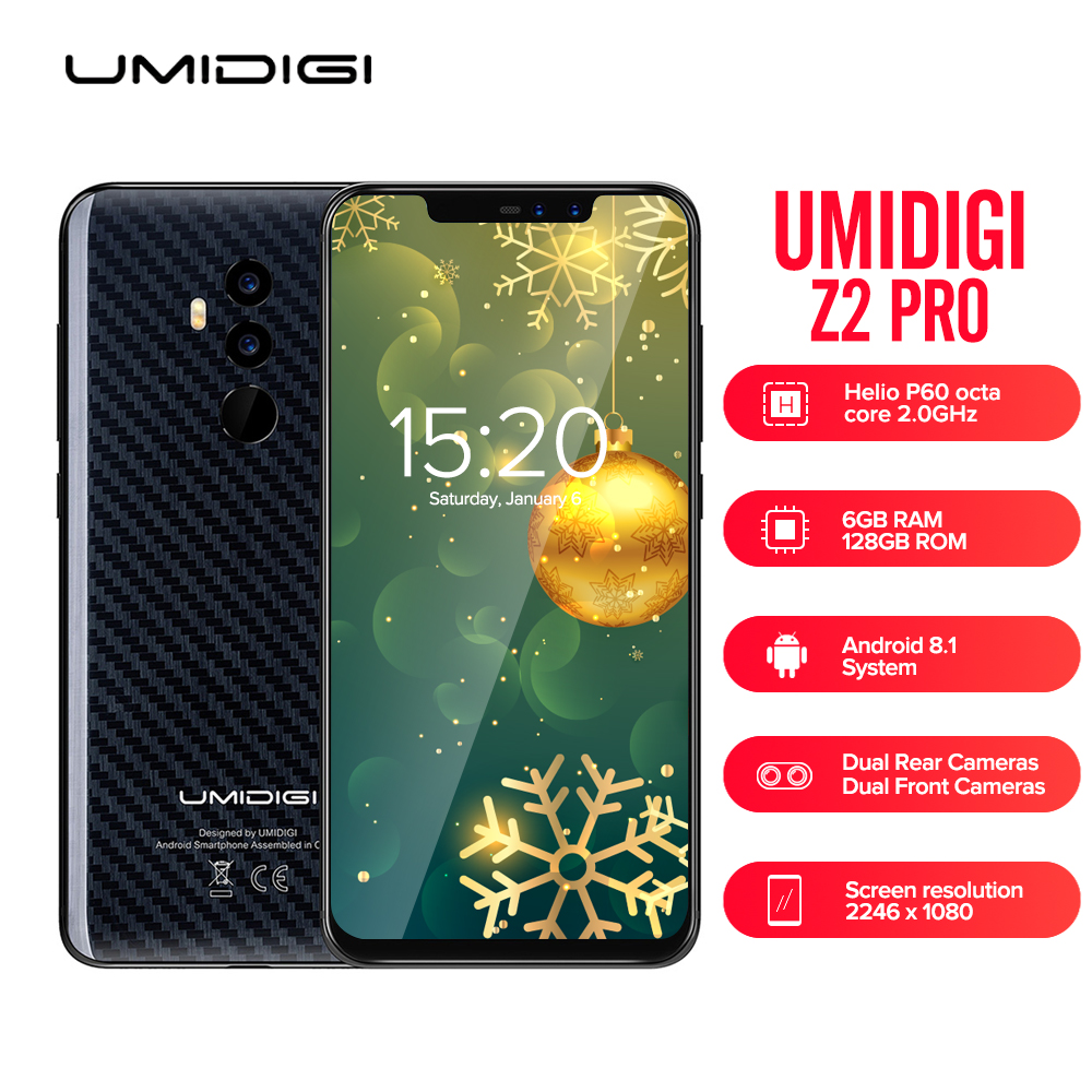 UMIDIGI Z2 PRO 4G Smartphone 6.2'' Android 8.1 Helio P60 Octa Core 6GB + 128GB Full Screen Face ID Global Band Mobile CellPhone