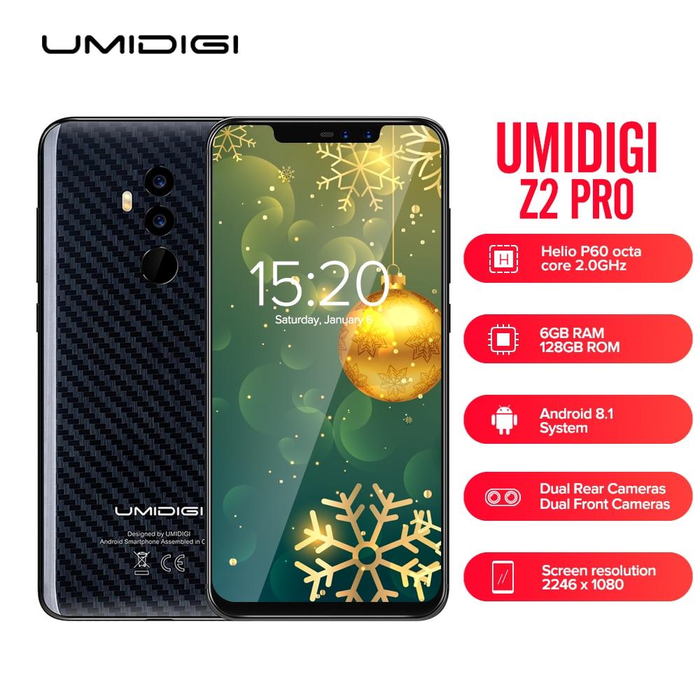 UMIDIGI Z2 PRO 4g Phablet 6.2 pouce Android 8.1 Helio P60 Octa Core 6 gb + 128 gb Plein écran Visage ID Groupe Mondial Mobile Téléphone Z2