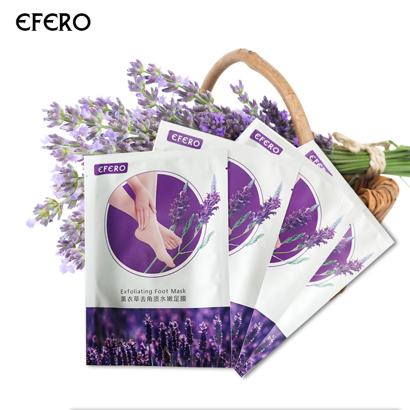 Efero 2pcs=pair Lavender Peeling Feet Mask Exfoliating Socks Remove Dead Skin Remover For Pedicure Baby Foot Mask For Heel TSLM2