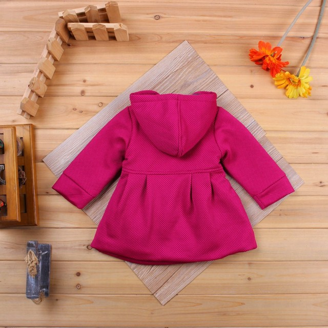 Baby Girls Clothing Cute Baby Hooded Coat Dress Spring Autumn Toddler Infant Baby Outwear Jacket Baby Clothes Windbreaker