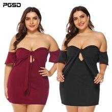 PGSD Spring summer Fashion sexy Big-size women clothes Solid Bandage strapless Slash neck Wrap chest short Dress female XXXL