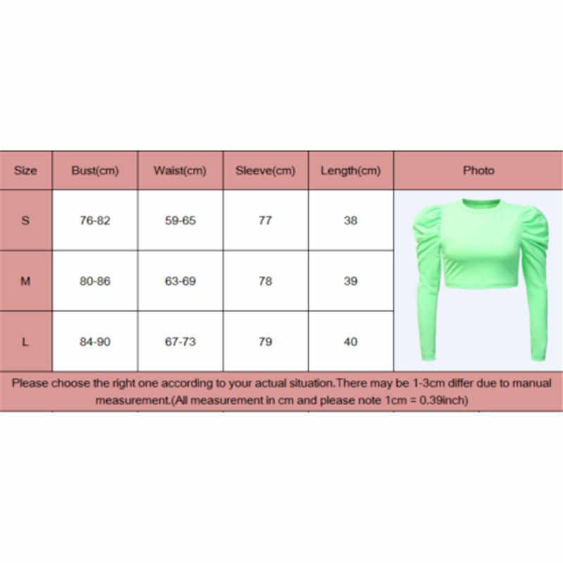 Delle donne Casual T-Shirt Puff Spalla Manica Lunga O Neck Stretch Magliette e camicette di Base Tee T-Shirt Pullover di Autunno della Molla di Colore Solido Magliette e camicette