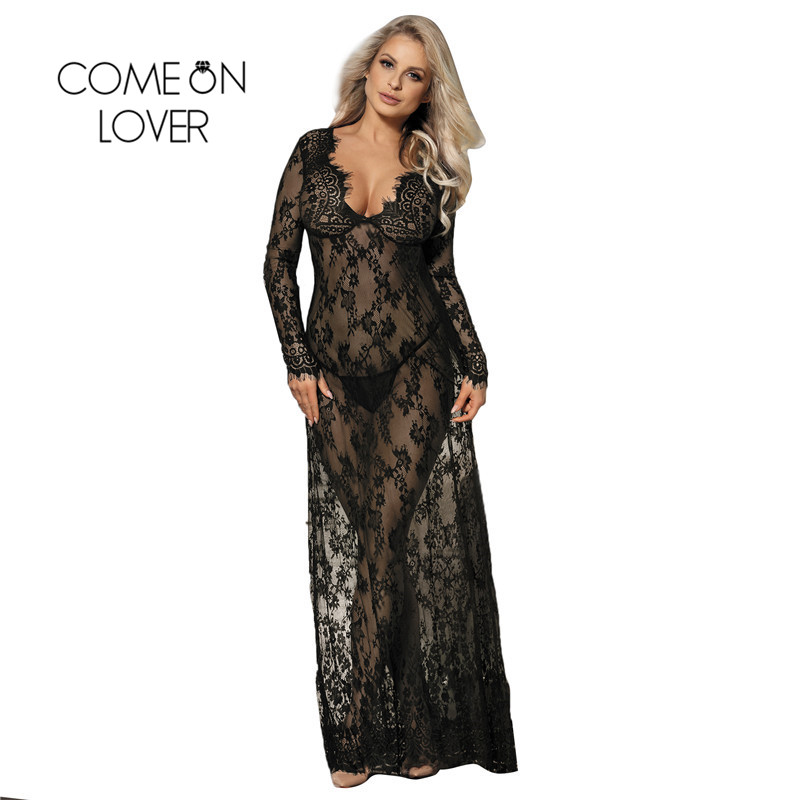 Lace Nightdress White Black Wedding Maxi Sleep Dress Long Sleeve Sheer Long Lace Nightgown Hot Sexy Lingerie Baby Doll RE80497
