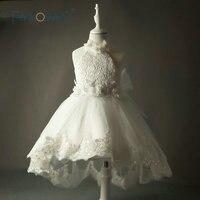 Vintage Lace Ivory Flower Girl Dresses For Weddings Kids Evening Dress Party Prom Dresses For Girls