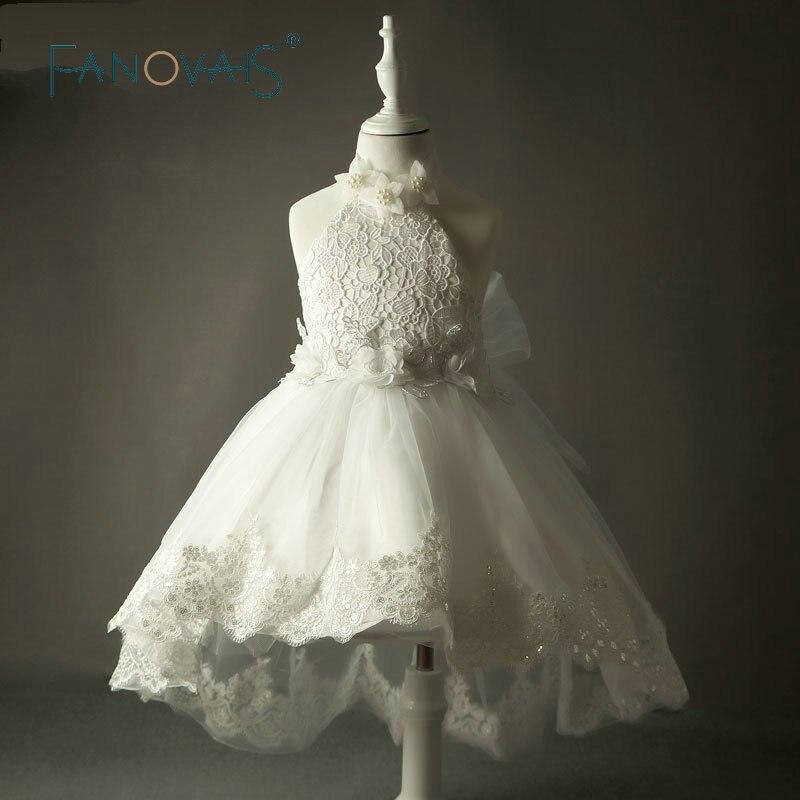 Реальні фотографії Кружева Вінтаж Квіткові дівчата сукні для весілля 2018 Холтер Діти Вечірні плаття бальні сукні Перлина сукні Високий передній нижній спині  t