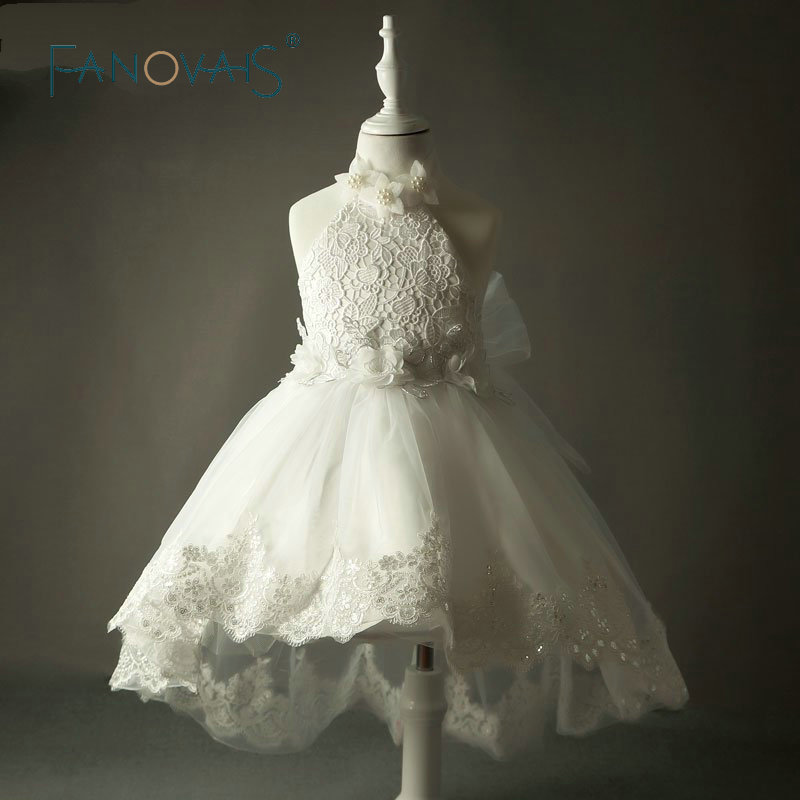 Real Photos Lace Vintage Flower Girl Dresses For Weddings 2019 Halter Kids Prom Dress Ball Gown Pearl Dress High front low back