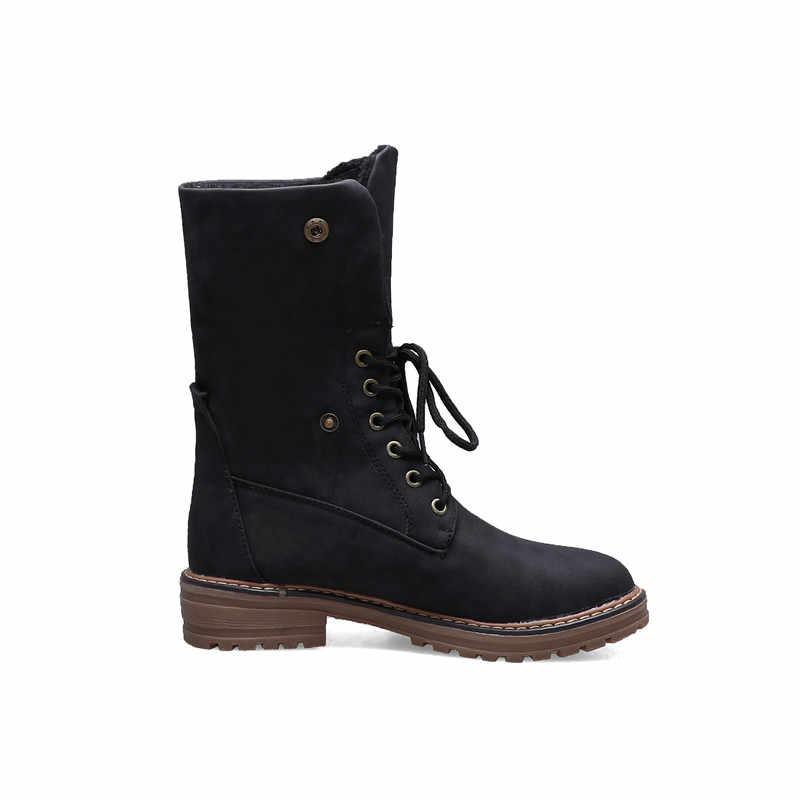 ASUMER büyük boy 34-43 yeni kışlık botlar kadın yuvarlak ayak dantel kadar kare topuklu bayan ayakkabıları sıcak tutmak yarım çizmeler kadınlar için