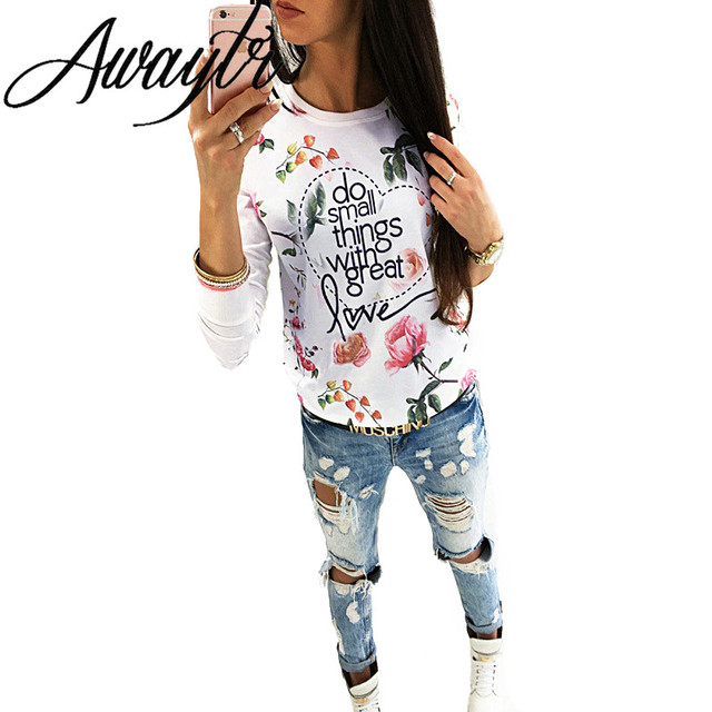 Awaytr Long Sleeve T-shirts Women Casual do small things Print T-shirt Tops Casual Tee Femme Gray White Tops femininos C3623