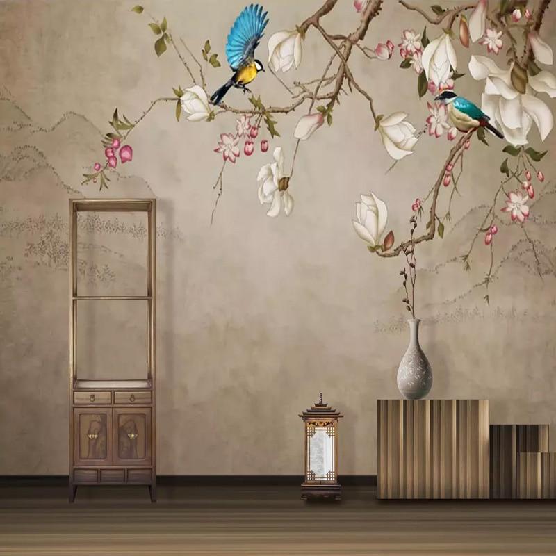 Custom Photo Wallpaper 3D Flowers Birds Hand Painted Magnolia Flower Murals Living Room Bedding Room Study Room 3D Backdrop Wall