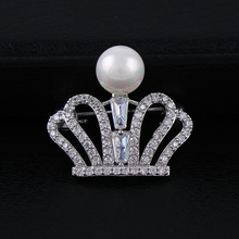 CINDY XIANG Cubic Zirconia Crown Collar Pin For Women And Men Unisex Wedding Coat Brooch Luxury Jewelry Copper Material Gift