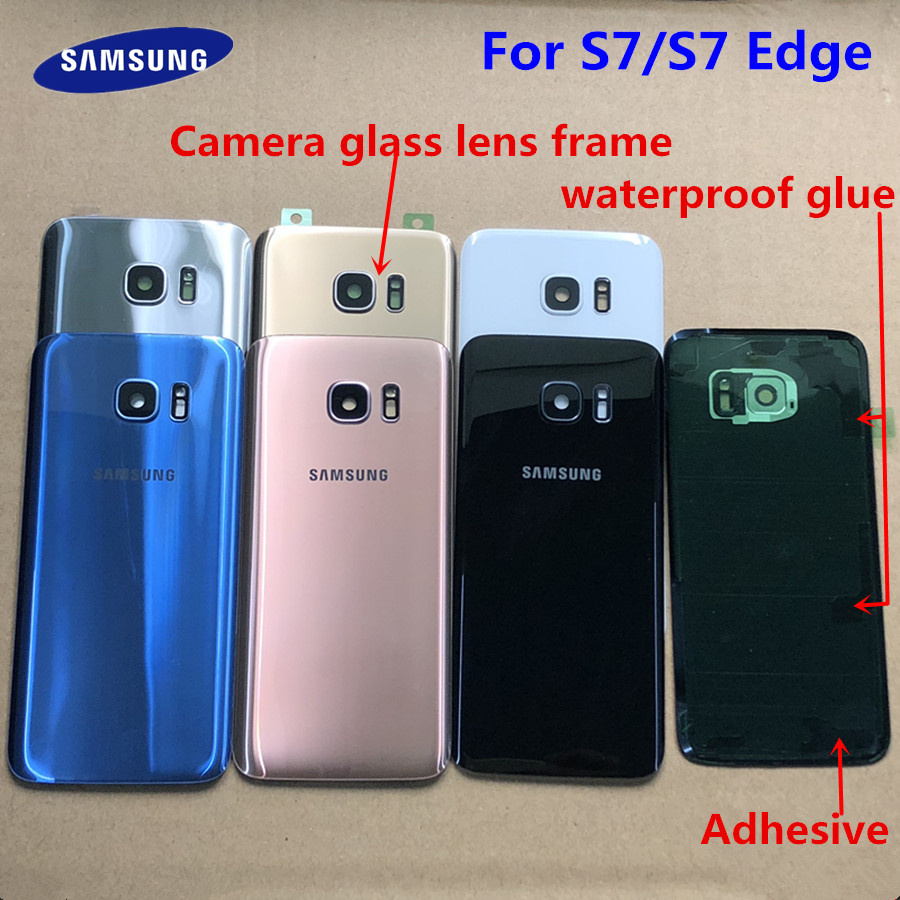 For SAMSUNG Galaxy S7 G930F/S7 Edge G935F Back Glass Battery Cover Rear Door Housing Case For SAMSUNG S7 S7Edge Back Glass Cover