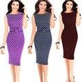 Женская Мода Рукавов О-Образным Вырезом Dot Bodycon Платье Пакет Хип Карандаш Повседневная Бинты Большой Двор Плюс Размер 5XL Платья