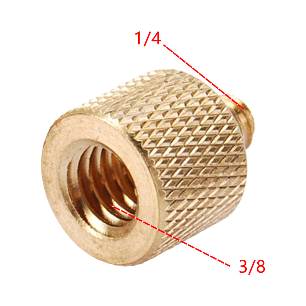 JMFOTO High Quality Tripod Thread Screw Adapter 3/8 To 1/4 Female Male Converter Gold Color Brass