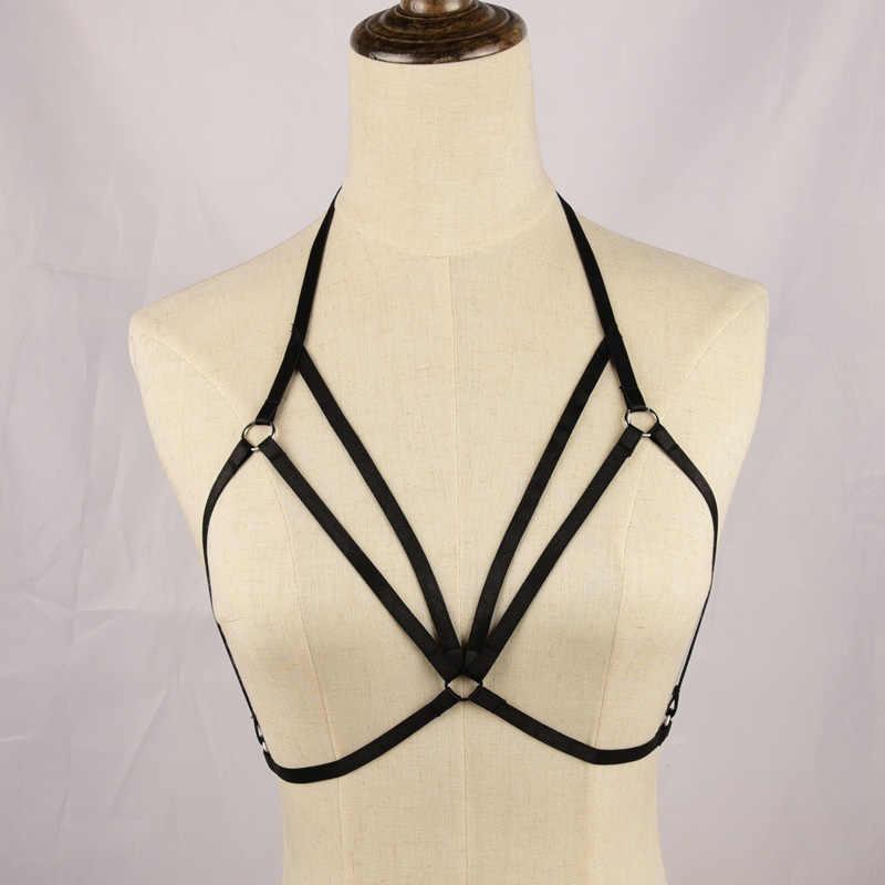 Áo ngực Harness Bondage vành đai đen, BDSM Gothic Fetish khai thác, Body Cage Khai Thác, bondage Đồ Lót, cô gái Garter Belt, Crop Top, Se