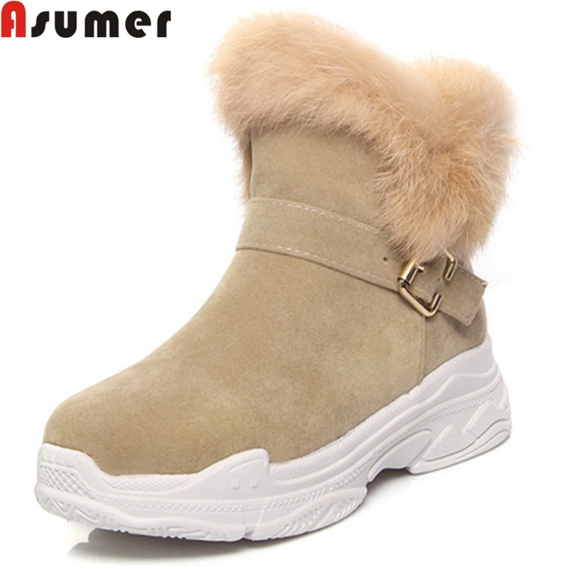 ASUMER 2018 fashion winter boots round toe buckle faux fur ankle boots for women platform keep warm snow boots big size 34-43 platform bow faux fur ankle boots