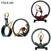 VILEAD 13 Styles Resin Abstract Yoga Figurine Creative Lady Girl Miniatures Beautiful Model for Home Decor Wedding Decoration