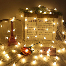 1M/2M/3M/4M/5M/10M Garland Xmas LED Ball String Light AA Battery Operated Fairy Lights For Christmas Tree Wedding Party Decor
