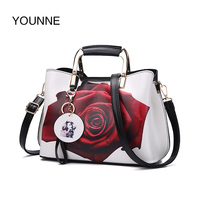 YOUNNE Women Handbag Fashion Style Female Painted Shoulder Bags Flower Pattern Messenger Bags Leather Casual Tote
