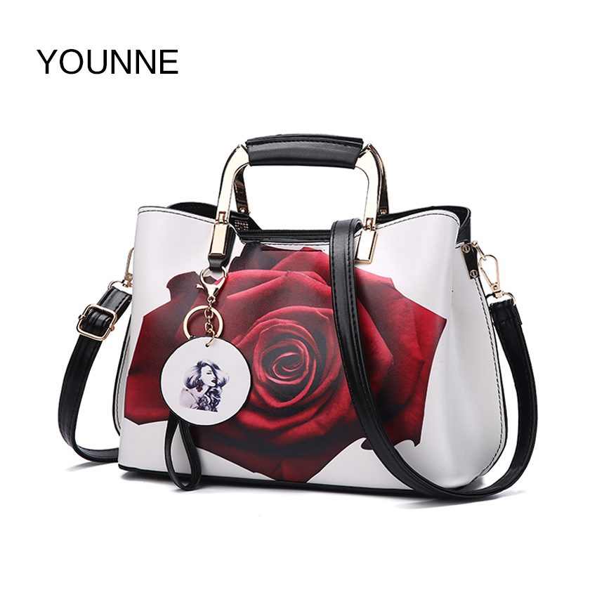 YOUNNE Women Handbag Fashion Style Female Painted Shoulder Bags Flower  Pattern Messenger Bags Leather Casual Tote Evening Bag 119554c195
