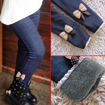 Wysokiej jakości grube ciepłe zimowe spodnie dżinsowe łuk dziewczyny legginsy spodnie dla dzieci spodnie dla dzieci tanie i dobre opinie ROYGCBP spandex COTTON CN (pochodzenie) skinny Pełnej długości Pasuje prawda na wymiar weź swój normalny rozmiar Elastyczny pas