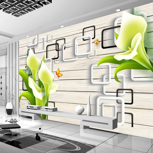 Personnalisé 3D Photo Papier Peint Peinture Murale Moderne 3D Lily ...