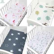 Мягкая, дышащая, для новорожденных, детская кроватка, простыня, матрас для детской кровати, чехол с рисунком, для новорожденных, постельные принадлежности для кроватки, размер 120*65 см