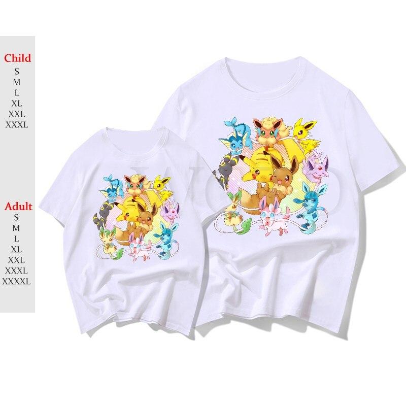 Pokemon Eevee Umbreon T-shirt Women Men Short Sleeve T Shirts Summer Casual PIKACHU Tee Tops Fashion Kids Streetwear Clothes